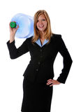 Woman Holding Large Water Container stock image