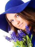 Woman holding lavender flower Royalty Free Stock Photos