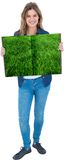 Woman holding lawn book Royalty Free Stock Photos