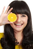Woman holding lemon Stock Image