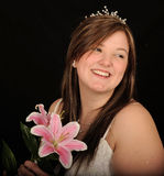 Woman holding lily Royalty Free Stock Photo