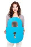 Woman holding lock Royalty Free Stock Image