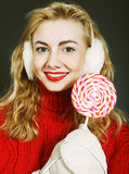 woman holding lollypop Stock Image