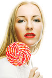 woman holding lollypop Royalty Free Stock Images
