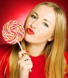 woman holding lollypop Stock Photography