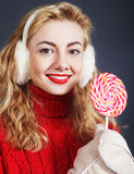 woman holding lollypop Stock Photos