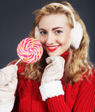woman holding lollypop Stock Photo