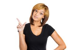 Woman holding loser sign Stock Image