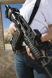 Woman Holding Machine Gun At Firing Range Stock Images