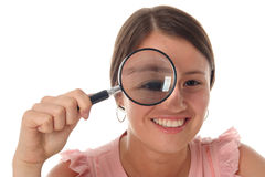 Woman Holding Magnifying Glass Stock Image