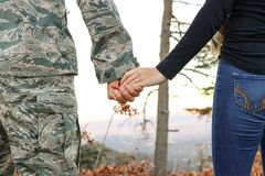 Woman Holding Man Hand Royalty Free Stock Photography