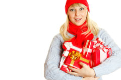 Woman holding many gift boxes Royalty Free Stock Photo