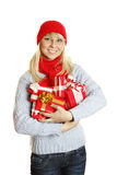 Woman holding many gift boxes Stock Image