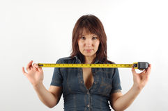 Woman holding measure tape #3 Royalty Free Stock Photography