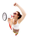 Woman holding megaphone and yelling Stock Images