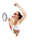 Woman holding megaphone and yelling. Fisheye lens, studio shot Stock Images
