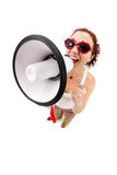 Woman holding megaphone and yelling Royalty Free Stock Photography