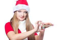 Woman holding Merry Xmas text Stock Photography