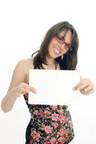 Woman holding message Stock Image