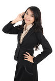 Woman holding mobile phone Stock Images