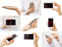 Woman Holding Mobile Phone, Collage Of Different Photos Stock Image