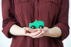 Woman Holding Model Car In Palm Of Hand Royalty Free Stock Images