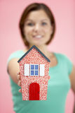 Woman Holding Model House stock photography