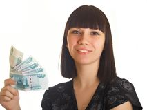 Woman Holding Money Stock Image