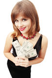 Woman holding money. In the hand on white background Royalty Free Stock Photography