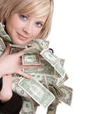 Woman Holding Money Stock Photo