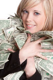 Woman Holding Money. Smiling beautiful woman holding money stock photo