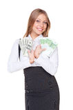 Woman holding the money Royalty Free Stock Photos