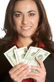 Woman Holding Money Stock Photos