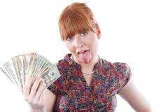 Woman holding money stock image