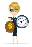 Woman holding a money bag and clock Stock Photo