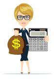 Woman holding a money bag and electronic calculator Stock Photo