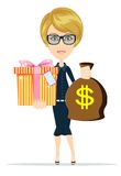 Woman holding a money bag and gift box Stock Photo