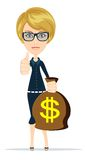 Woman holding money bag, vector Royalty Free Stock Images