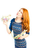 woman holding money in both hands Royalty Free Stock Photos