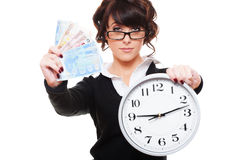 Woman holding money and clock stock images