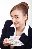 Woman holding money. Concept of money Stock Images
