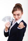 Woman holding money. Concept of money Stock Photos