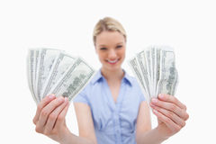 Woman holding money in her hands Stock Image