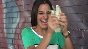 Woman Holding Money stock video