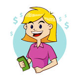 Woman holding money. Vector illustration of a woman holding money Stock Images