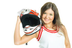 Woman holding a motorcycle helmet Stock Photography