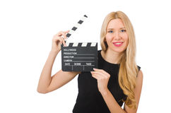 Woman holding movie clapboard isolated. On white Royalty Free Stock Image