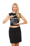 Woman holding movie clapboard Stock Images