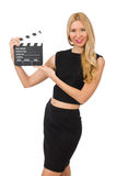 Woman holding movie clapboard Stock Photo