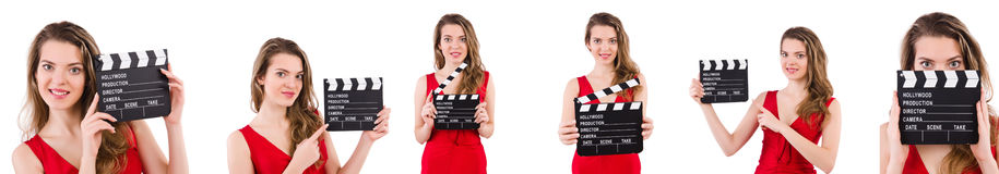 The woman holding movie clapperboard isolated on white Stock Images